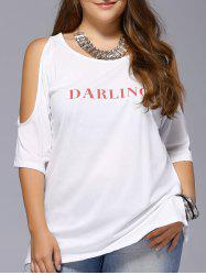 Plus Size Long Cold Shoulder Letter Print T-Shirt - WHITE