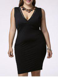 Chic Plunging Neck Sleeveless Plus Size Hollow Out Slit Skinny Women's Dress -