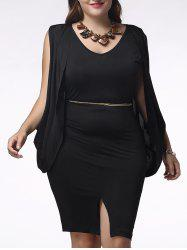 Charming Sleeveless Cape Spliced Furcal Plus Size Pure Color Women's Dress -