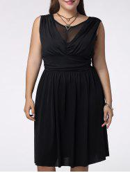 Trendy Sleeveless Plus Size Pleated Voile Spliced Solid Color Women's Dress -