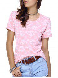 Round Neck Print Relaxed T-Shirt - PINK L