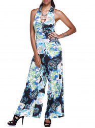 Wide Leg Floral Summer Halter Jumpsuit
