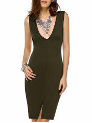 Slit Plunge Open Back Club Dress