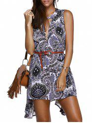Sleeveless Plunge Keyhole Asymmetric Dress - COLORMIX 2XL