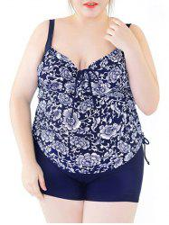 Plus Size Backless Floral Print Tankini Set