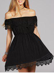 Off The Shoulder Crochet Skater Dress - BLACK
