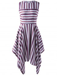 Fashionable Stripe Splicing Dress For Women - RED WITH WHITE XL