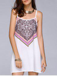 Spaghetti Strap Printed Chiffon Summer Dress - WHITE