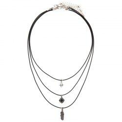 Layered Faux Gem Feather Necklace -