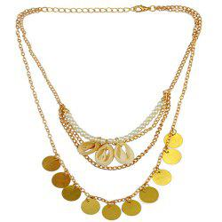 Vintage Faux Pearl Shell Coins Necklace -