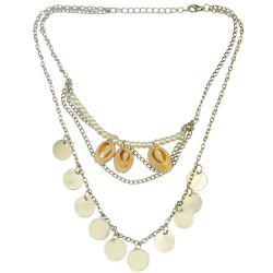 Vintage Faux Pearl Coins Shell Necklace Jewelry -