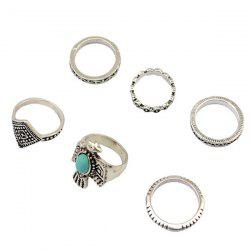 A Suit of Vintage Faux Turquoise Eagle Rings -
