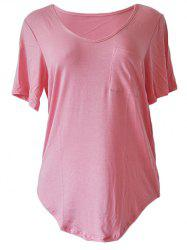 Casual Style Scoop Neck Short Sleeve Pocket Embellished T-Shirt For Women -