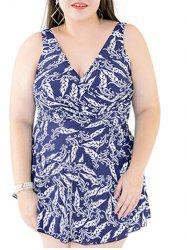Stylish Plus Size V-Neck Print One-Piece Swimsuit For Women -