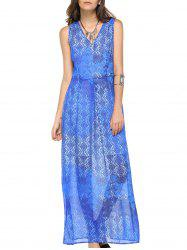 Fashionable V-neck Sleeveless Print Maxi Dress