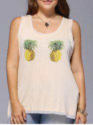 Trendy Plus Size Pineapple Print Back Slit Women's Asymmetrical Tank Top -