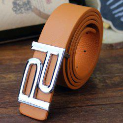 Stylish Hollow Out Double Letter P Shape Embellished PU Belt For Men -
