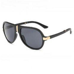 Alloy Nose Bridge Splicing Design Pilot Sunglasses - BLACK