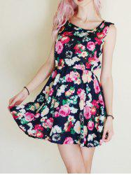 Floral Print Mini A Line Sun Dress - PURPLISH BLUE