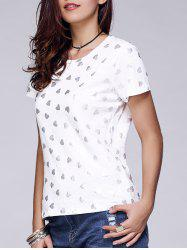 Round Collar Heart Print T-Shirt