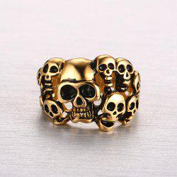 Gothic Style Cut Out Etched Skull Ring -