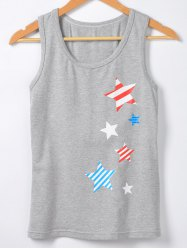 Star Stripe Print Casual Tank Top