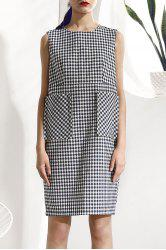 Sleeveless Big Pocket Plaid Dress -