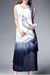 Double Layer Ink Painting Tank Dress -