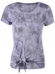 Fashionable Round Collar Short Sleeve T-Shirt - GREY/WHITE S