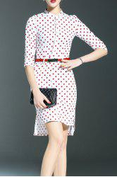Stand Collar Polka Dot Print High Low Dress -