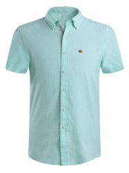 Short Sleeve Solid Color Button Down Shirt