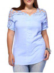 Sweet Plus Size Flower Pattern Hollow Out Women's Blouse - LIGHT BLUE