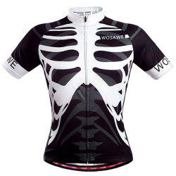 High Quality Skeleton Pattern Full Zipper Short Sleeve Summer Cycling Jersey For Men - WHITE AND BLACK