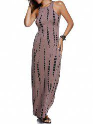 Sleeveless Cutout Maxi Illusion Print Dress - BROWN