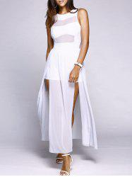 Alluring Round Neck Sleeveless High Slit Voile Spliced Women's Dress