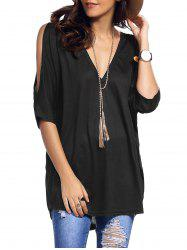Cold Shoulder Asymmetrical Low Cut V Neck Tee - BLACK