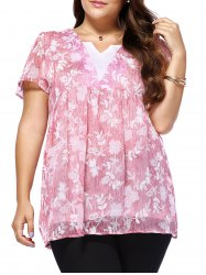 Sweet Plus Size V Neck Tiny Flower Pattern Women's Blouse - PINK