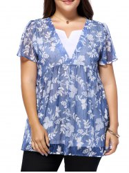 Sweet Plus Size V Neck Tiny Flower Pattern Women's Blouse - BLUE