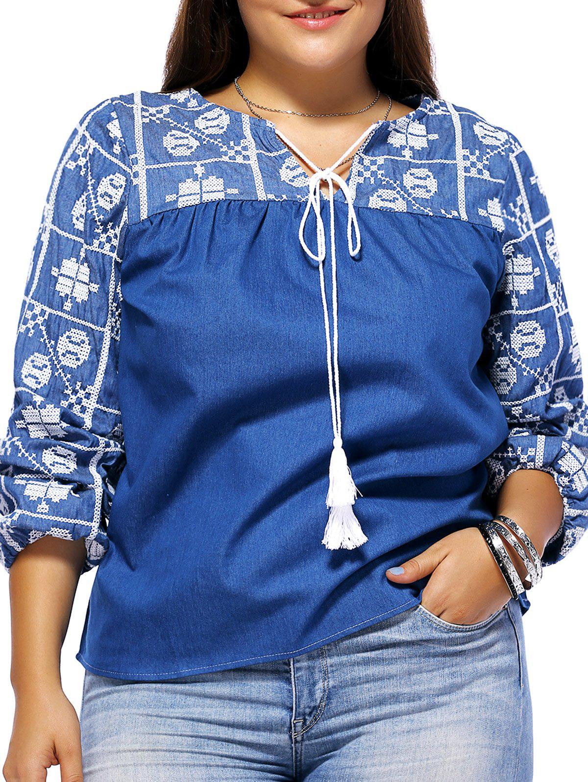 Chic Bohemian Style Plus Size Tie Front Tribal Pattern Women's Blouse