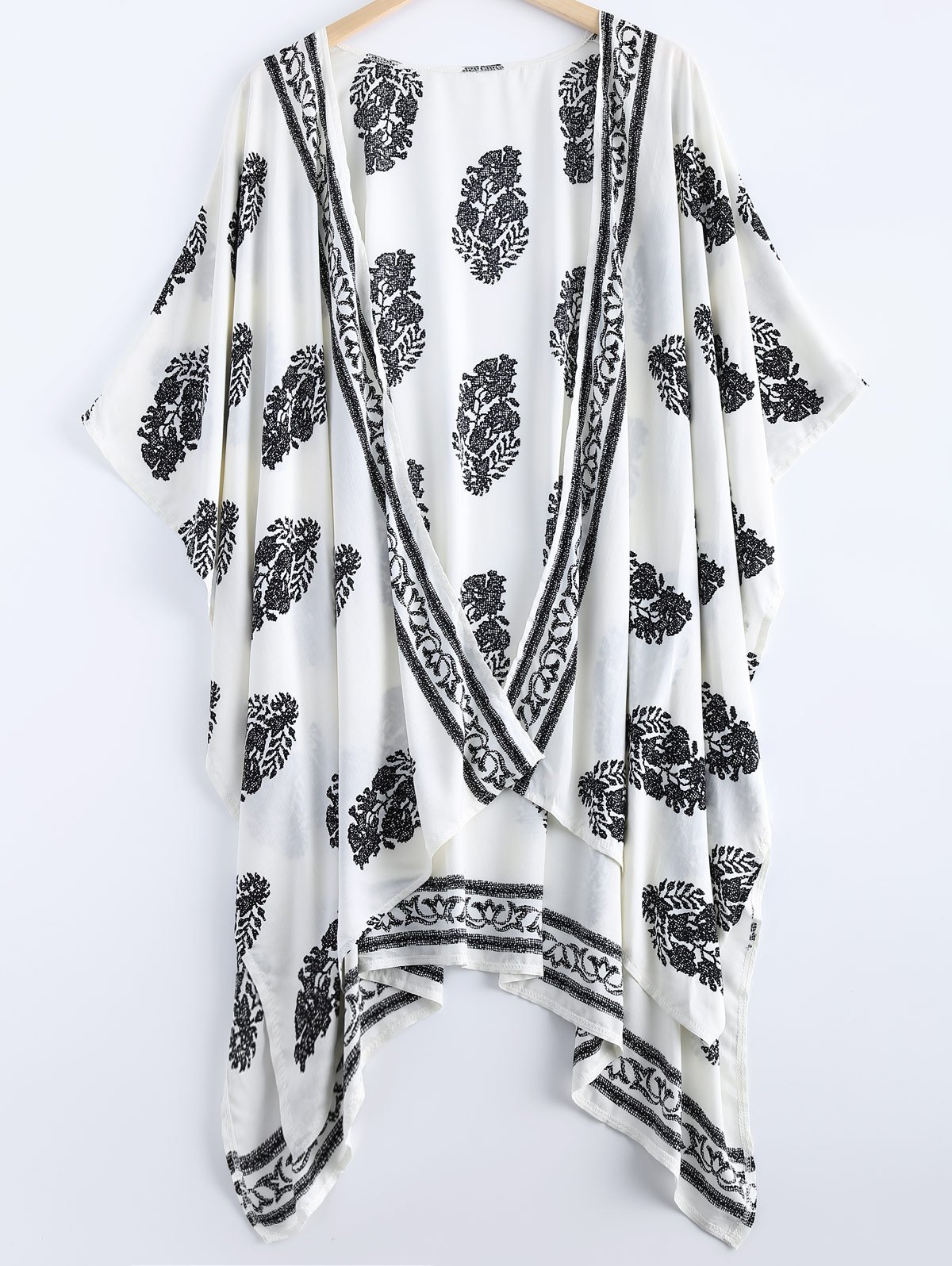 Asymmetric Summer Floral Print Kimono Cover UpWOMEN<br><br>Size: M; Color: WHITE; Material: Cotton Blends,Polyester; Shirt Length: Long; Sleeve Length: Short; Collar: Collarless; Pattern Type: Floral; Style: Fashion; Weight: 0.250kg; Package Contents: 1 x Kimono;