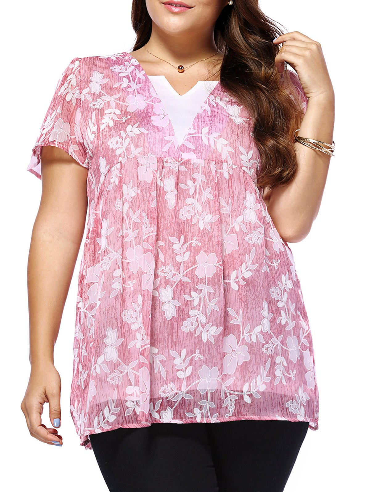 Affordable Sweet Plus Size V Neck Tiny Flower Pattern Women's Blouse