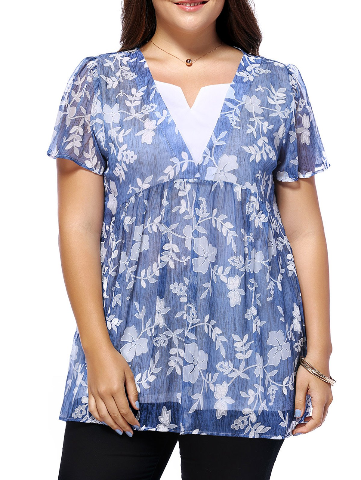 Discount Sweet Plus Size V Neck Tiny Flower Pattern Women's Blouse