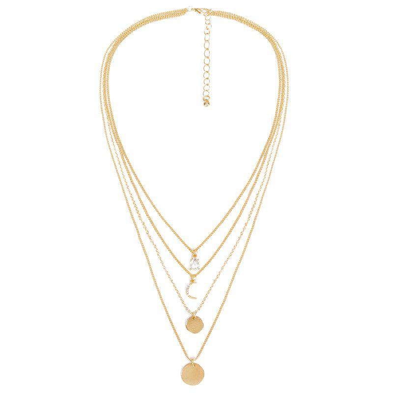 Moon Faux Crystal Rhinestone Layered NecklaceJEWELRY<br><br>Color: GOLDEN; Item Type: Pendant Necklace; Gender: For Women; Style: Trendy; Shape/Pattern: Moon; Weight: 0.030kg; Package Contents: 1 x Necklace;