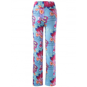 Causal Elastic Waist Floral Print Pants For Women -