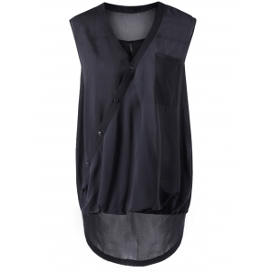 Asymmetric Collar Black Sleeveless Blouse