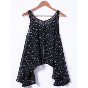Fashionable U-Neck Loose Button Printing Tank Top For Woman -