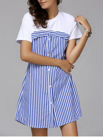 Outfits Stripe Buttoned Casual Short Sleeve Dress STRIPE L