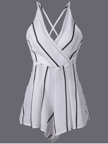 Unique Stylish Stripe V-Neck Adjustable Strap Romper For Women