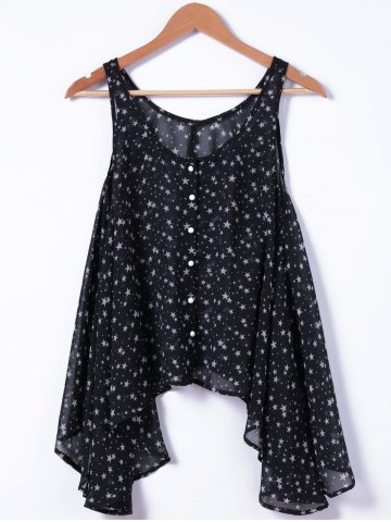Buy Fashionable U-Neck Loose Button Printing Tank Top For Woman