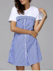 Stripe Buttoned Casual Short Sleeve Dress